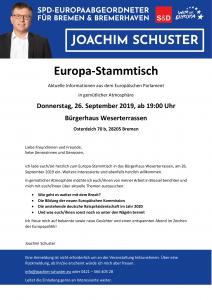 Einladung zum Europa-Stammtisch 26.09.19